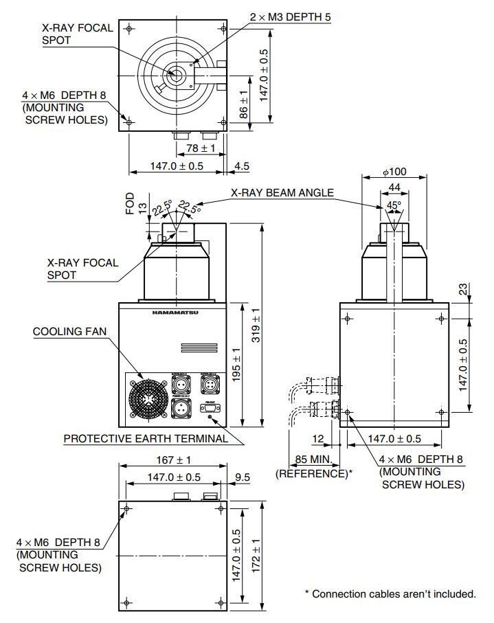 130kV X-ray Tube Dimensional Outline