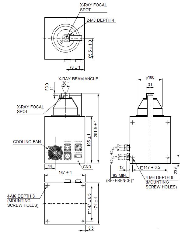 90kV X-ray Tube Dimensional Outline